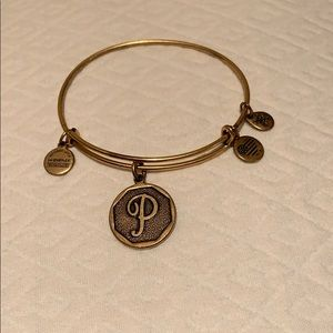Alex and Ani gold plated bracelet with letter P💖